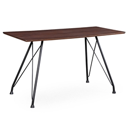 Delaney Coffee Color Ash + Matte Black Steel Modern Table + Desk