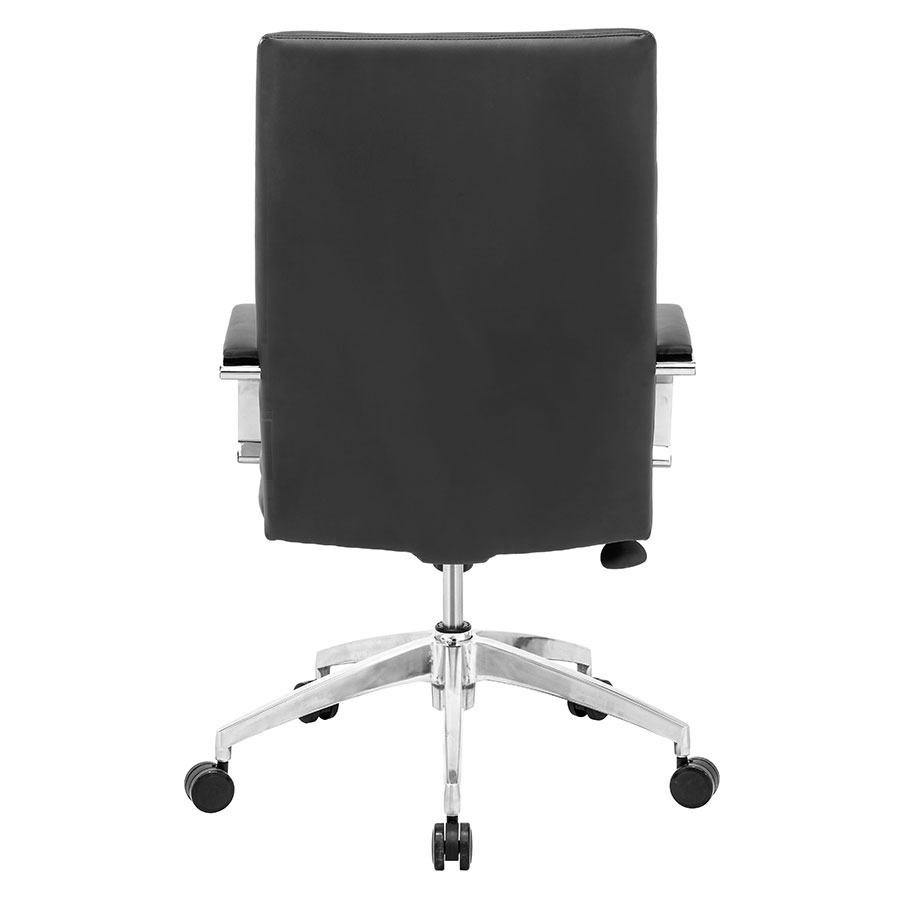 Delta Comfort Black Leatherette + Chrome Contemporary Office Chair