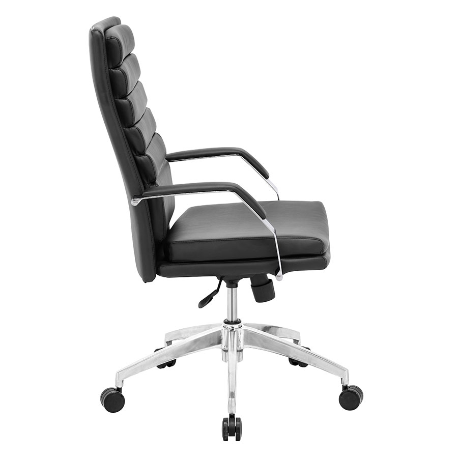 Delta Comfort Black Leatherette + Chrome Modern Office Chair