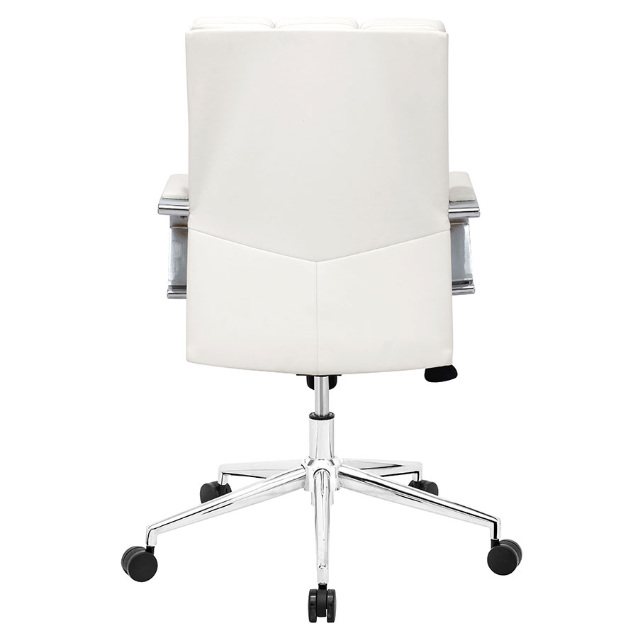 Delta White Leatherette + Chrome Contemporary Pro Office Chair