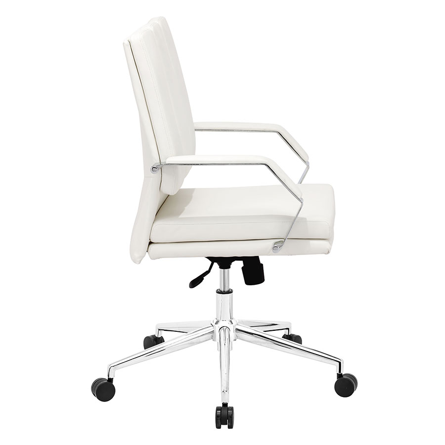 Delta White Leatherette + Chrome Modern Pro Office Chair