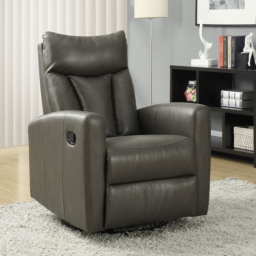 Derek Contemporary Gray Leather Recliner Swivel Glider