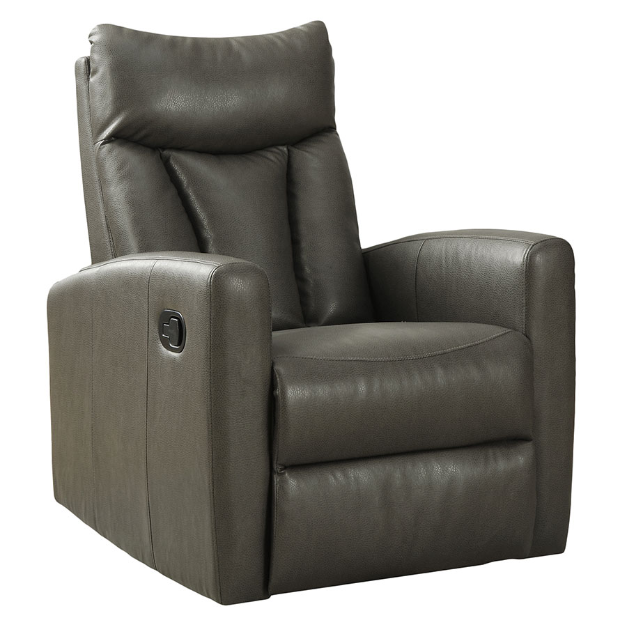 Derek Modern Gray Leather Recliner Swivel Glider