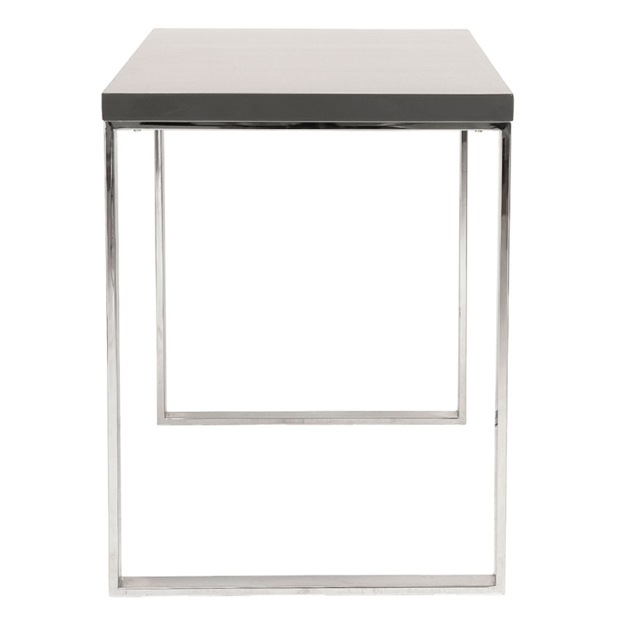 Diesel Modern Gray and Stainless Steel Desk - Side View