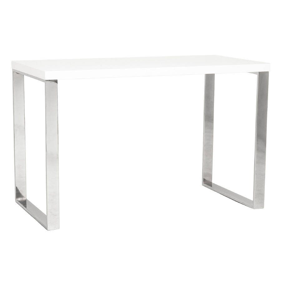Dillon Modern White and Stainless Steel Desk