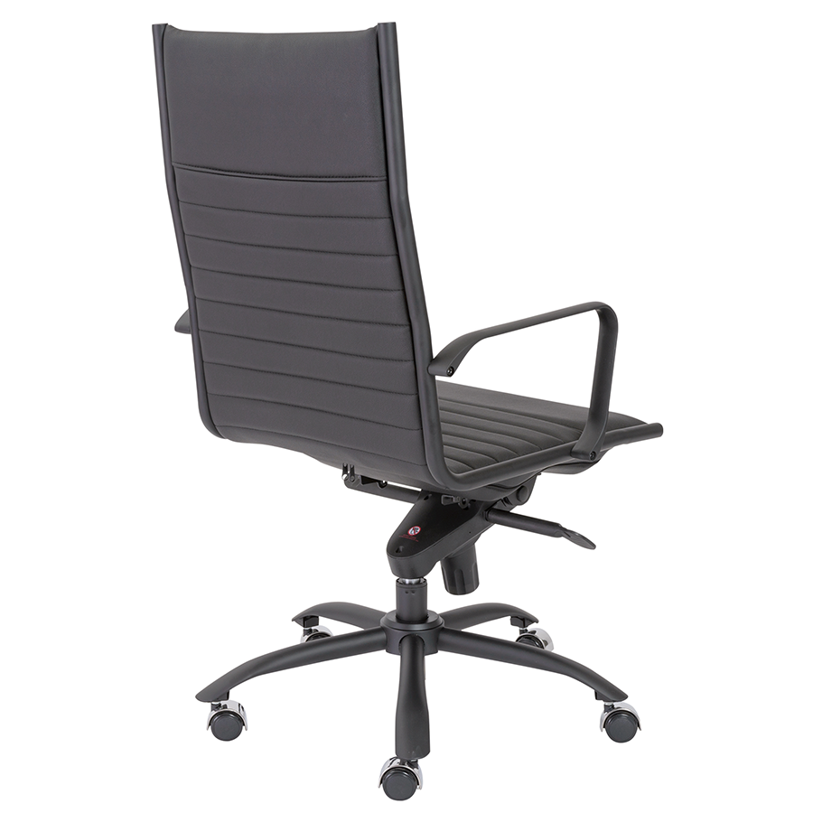 Dirk Black Leatherette + Powder Coated Metal Modern Executive Office Chair