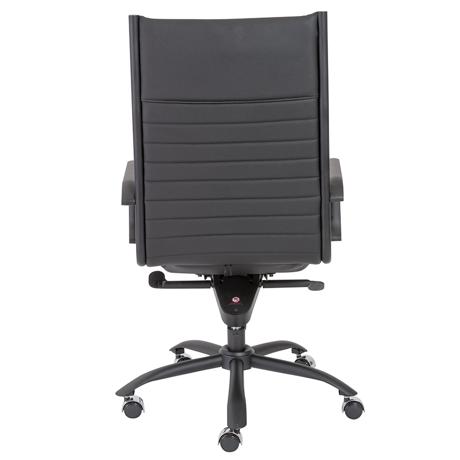 Dirk Black Leatherette + Powder Coated Metal Contemporary Executive Office Chair