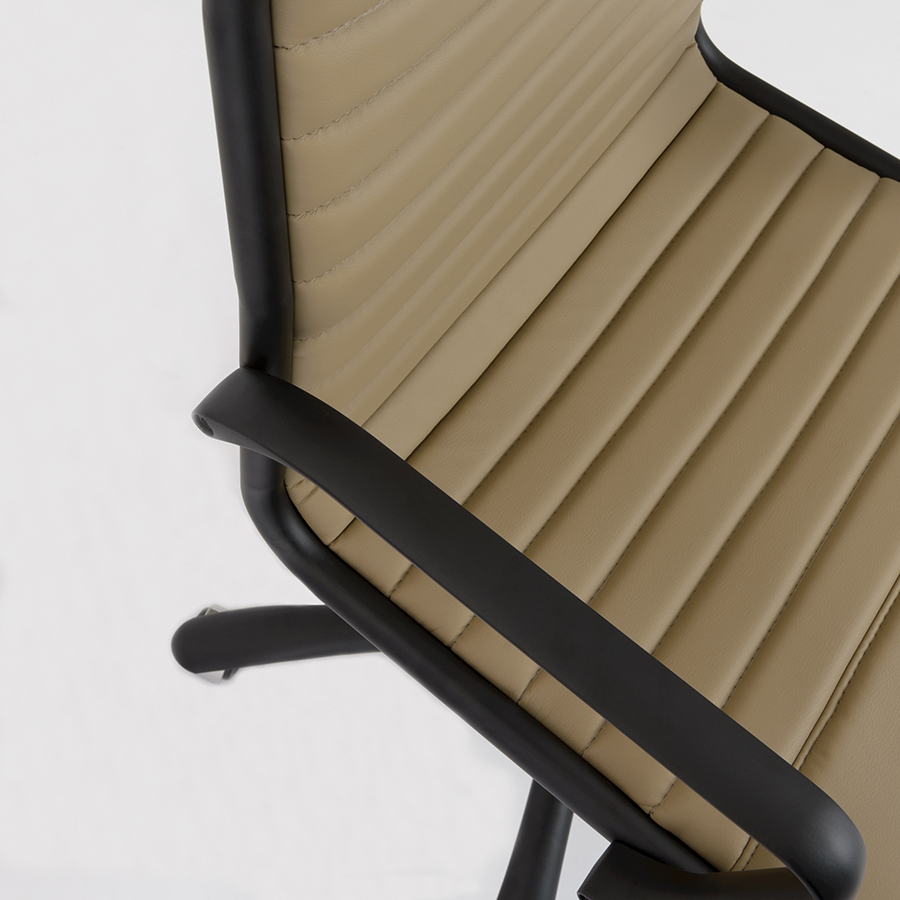 Dirk Taupe Leatherette + Black Metal Modern Executive Office Chair Detail