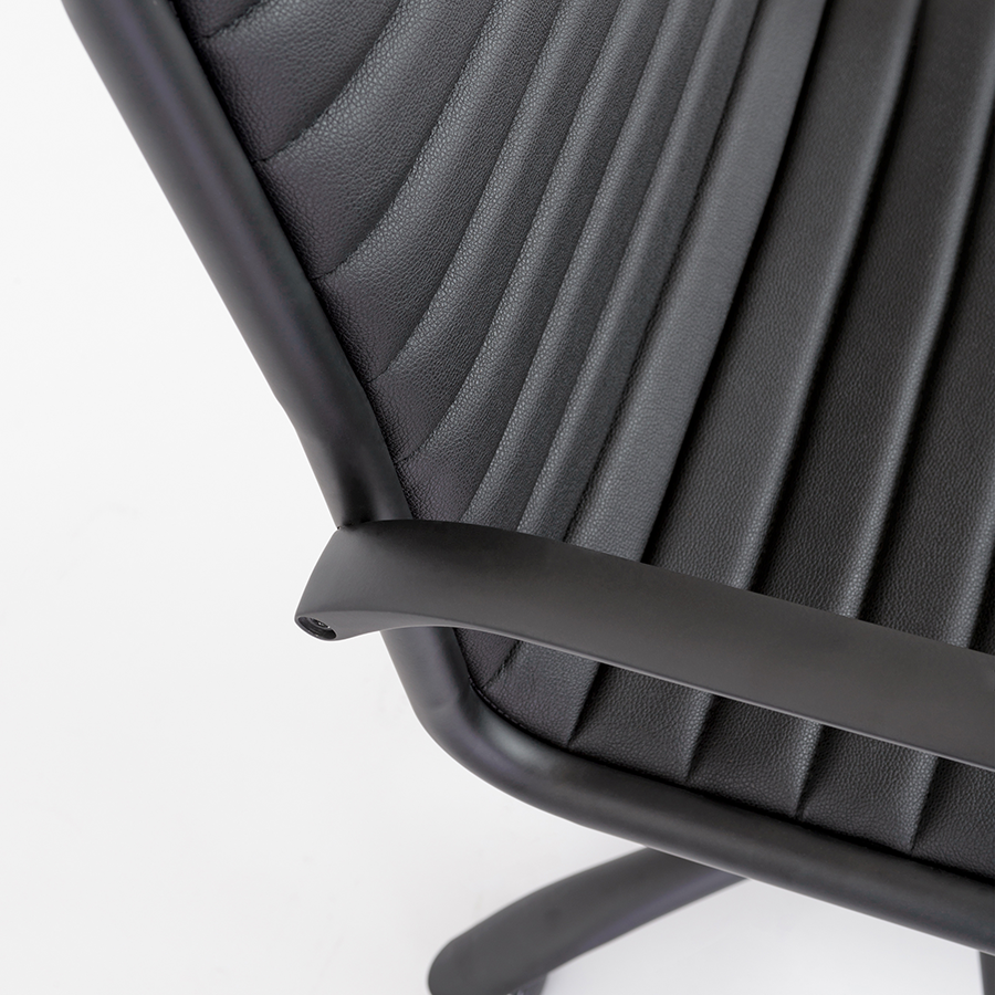Dirk Black Leatherette + Powder Coated Metal Contemporary Office Chair Detail
