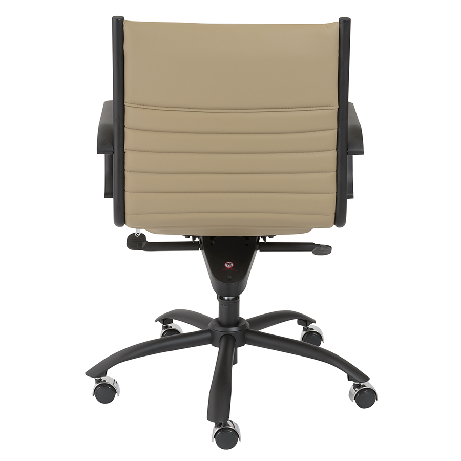 Dirk Taupe Leatherette + Black Metal Modern Office Chair