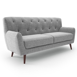 Dolph Gray Fabric Sofa with Charcoal Accent Buttons Mid Century Modern Sofa