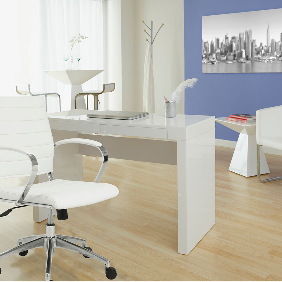 Downey Modern Desk with Axel Chair in White