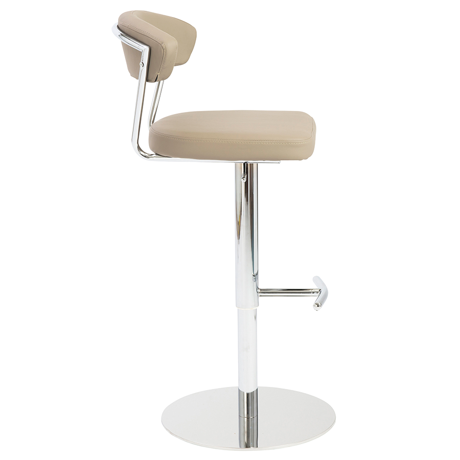 Draco Taupe Leatherette Contemporary Adjustable Stool