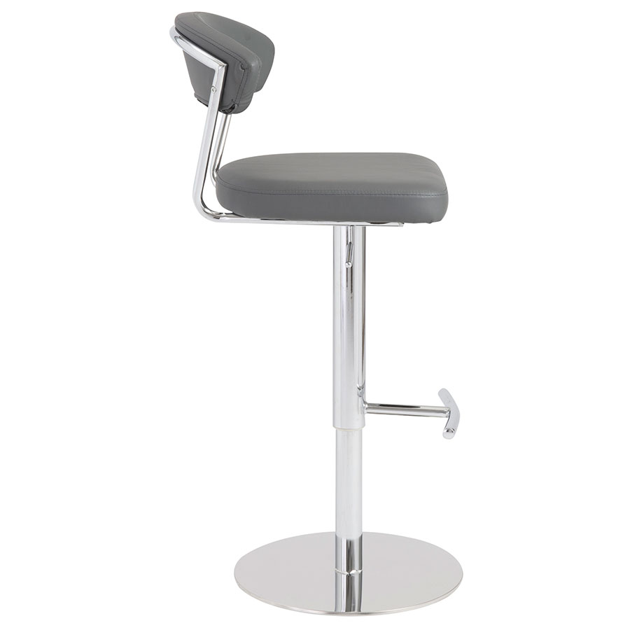 Drake Modern Adjustable Stool in Gray - Side View