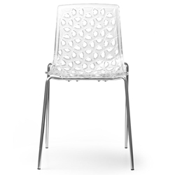 Drang Clear Polycarbonate + Metal Contemporary Dining Stacking Side Chair
