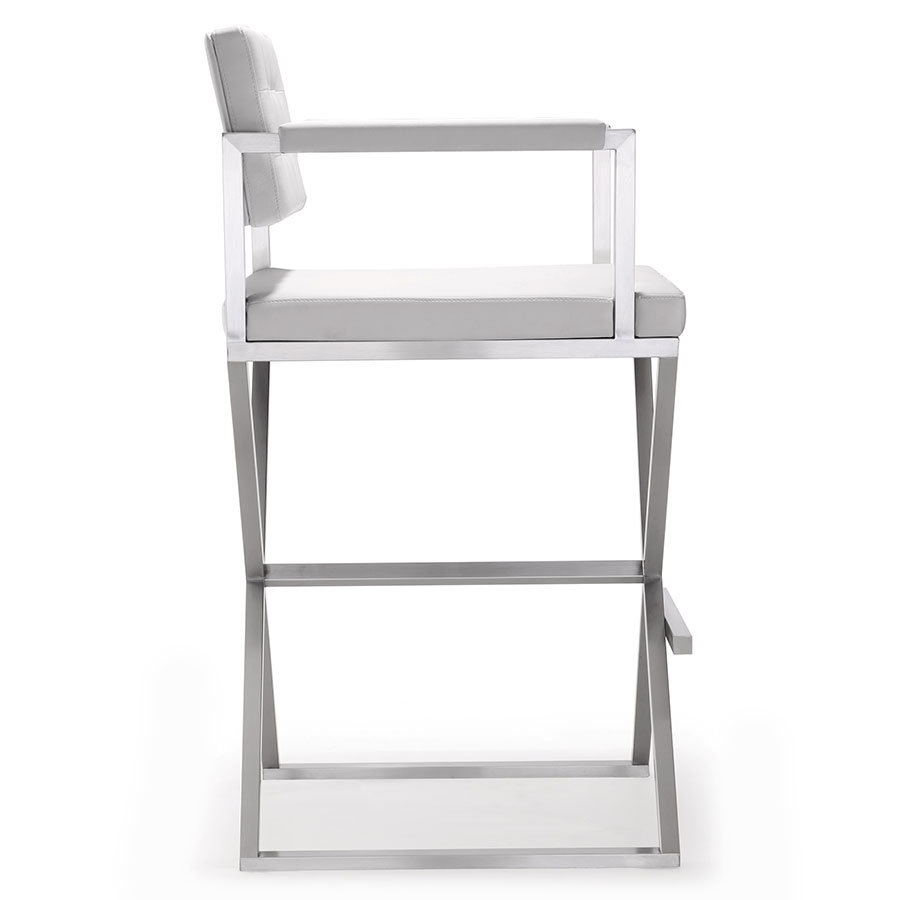 Duncan Contemporary White Bar Stool - Side View