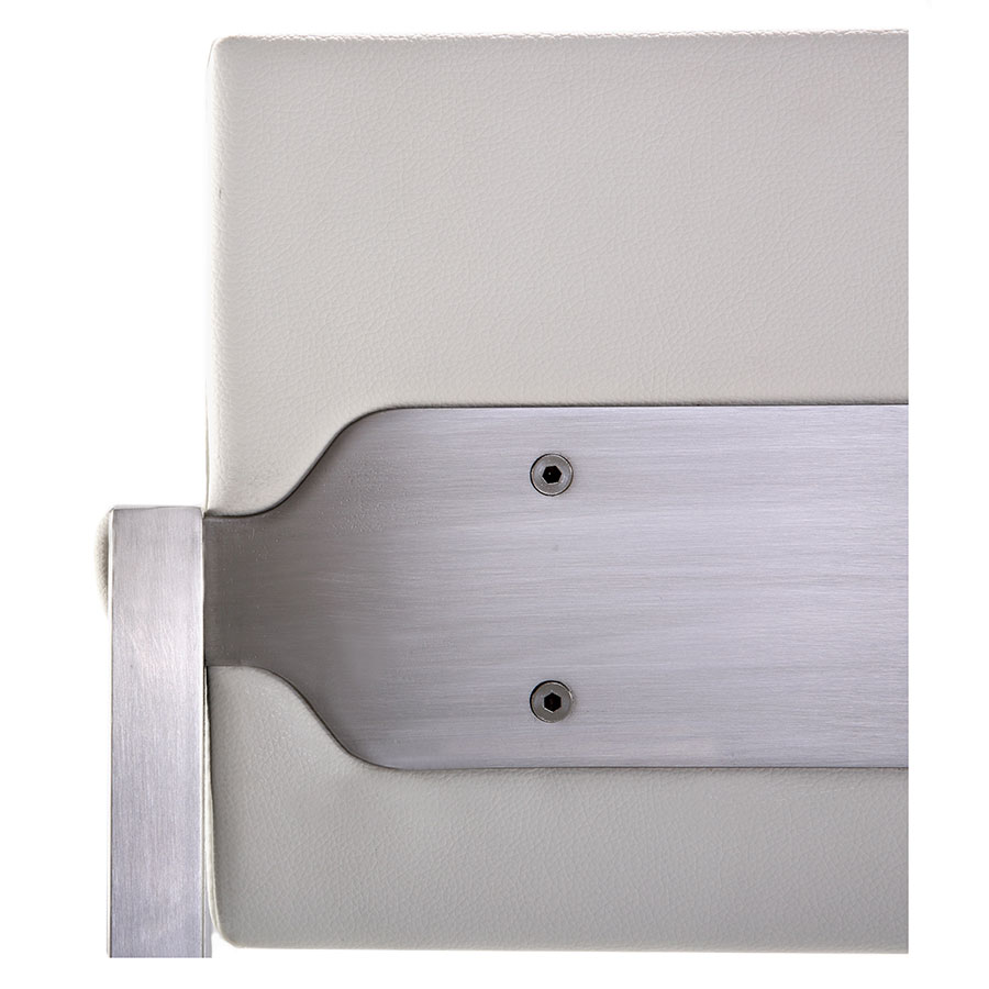 Duncan Modern Stool in White and Stainless - Back Detail