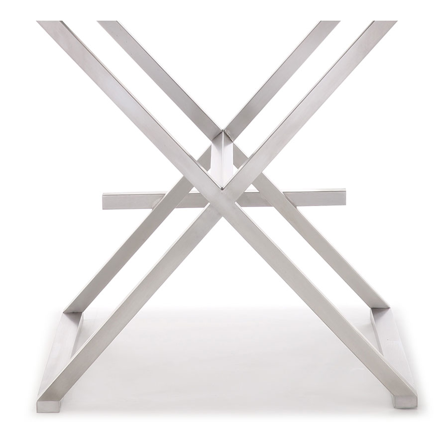 Duncan Modern Stool in White and Stainless - Base Detail