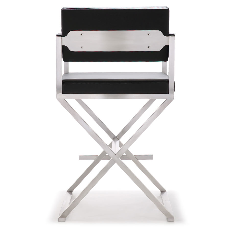 Duncan Modern Black Counter Stool - Back View