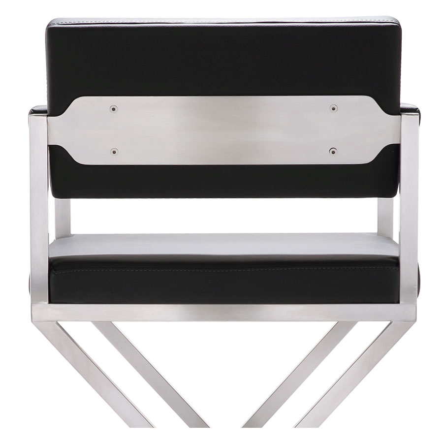 Duncan Modern Stool in Black and Stainless - Back Detail