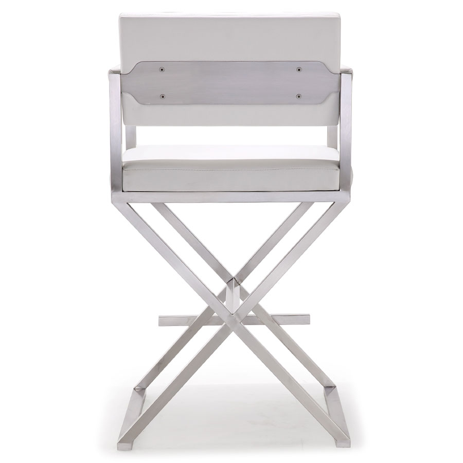 Duncan Modern White Counter Stool - Back View
