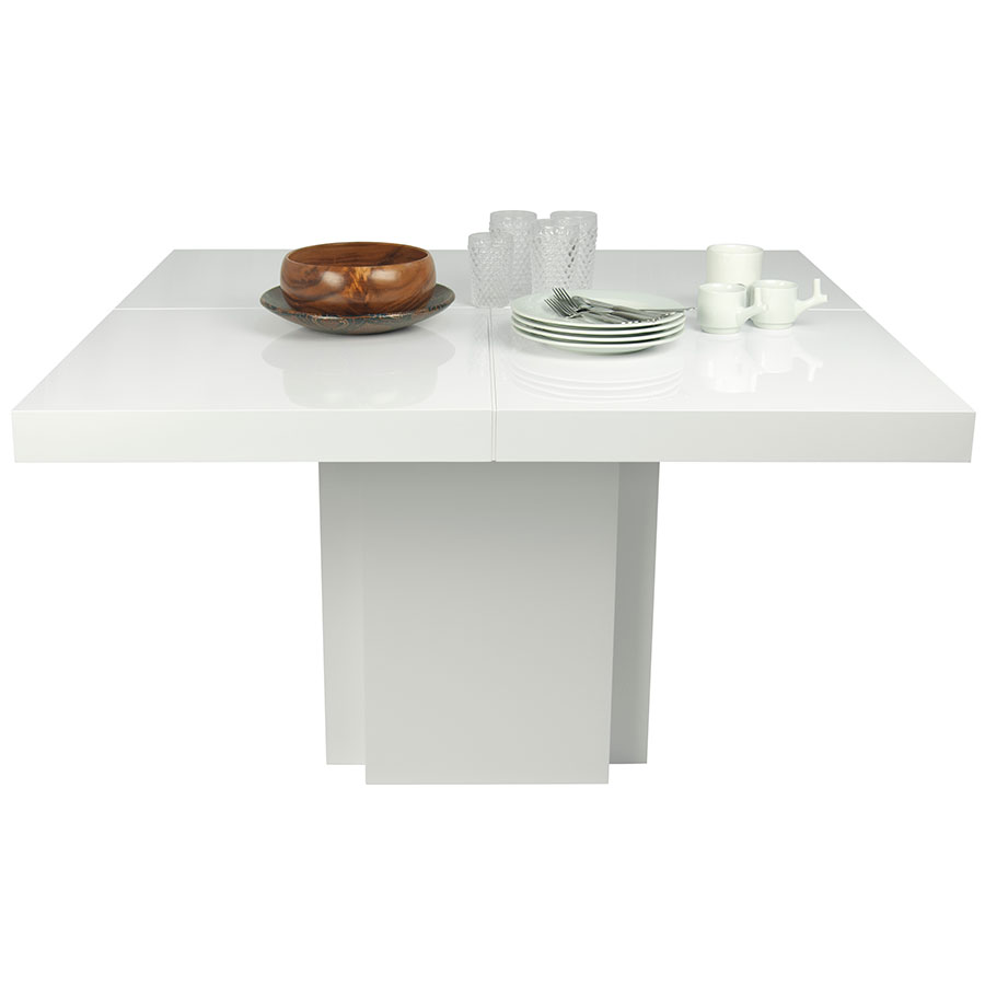 "Dusk 59"" White Contemporary Dining Table Dressed"