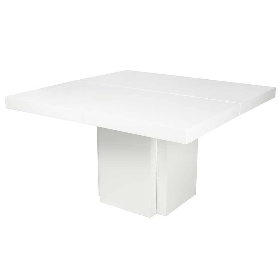 "Dusk 59"" White Contemporary Dining Table Up"