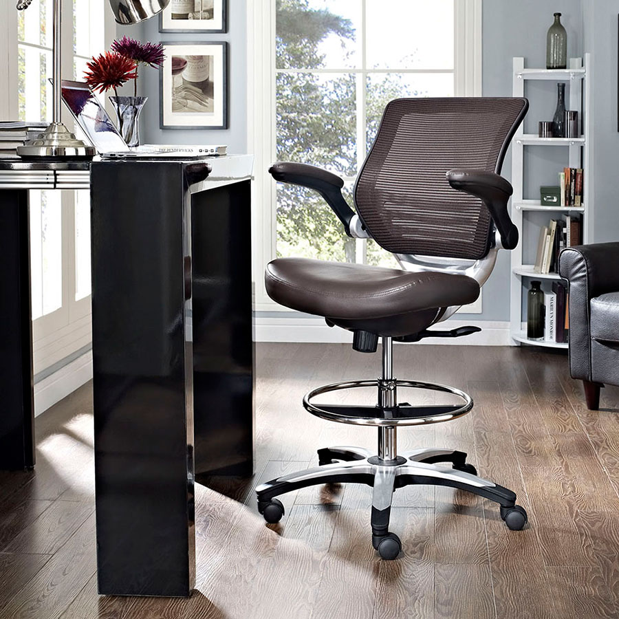 Ede Contemporary Brown Drafting Stool
