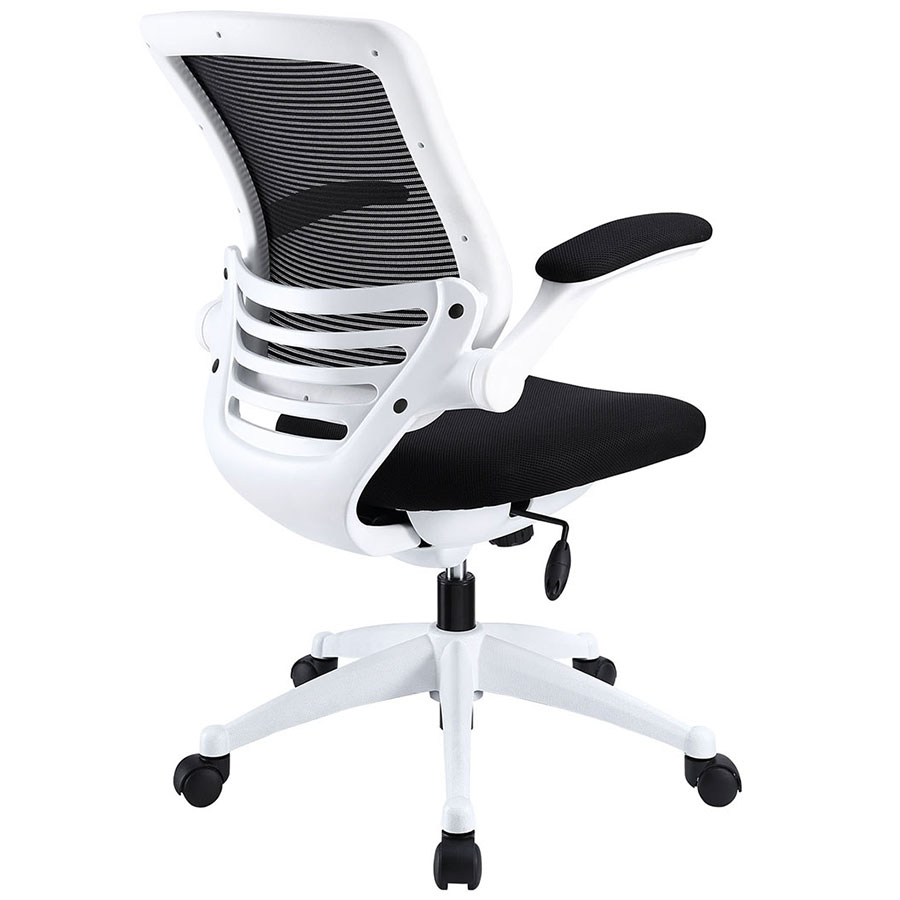 Ede Modern Fabric Office Chair in Black + White - Back View