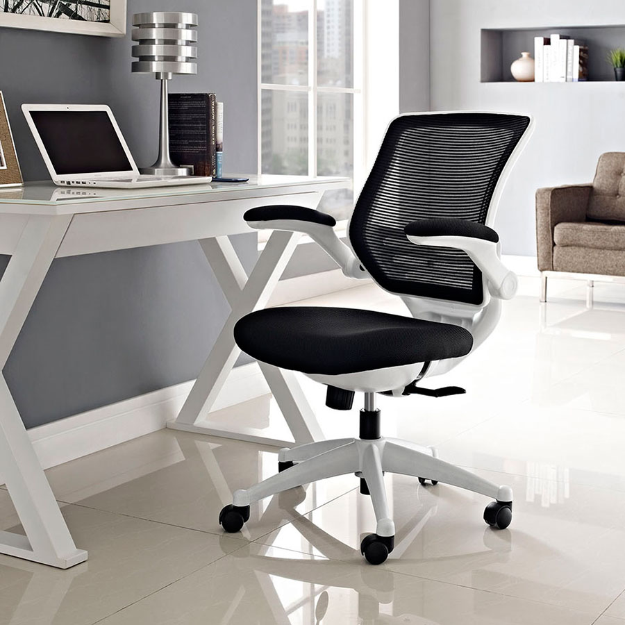 Ede Contemporary Fabric Office Chair in Black + White
