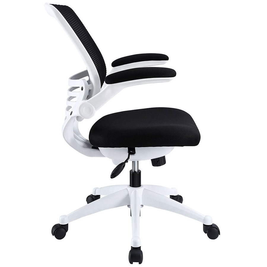 Ede Modern Fabric Office Chair in Black + White - Side View