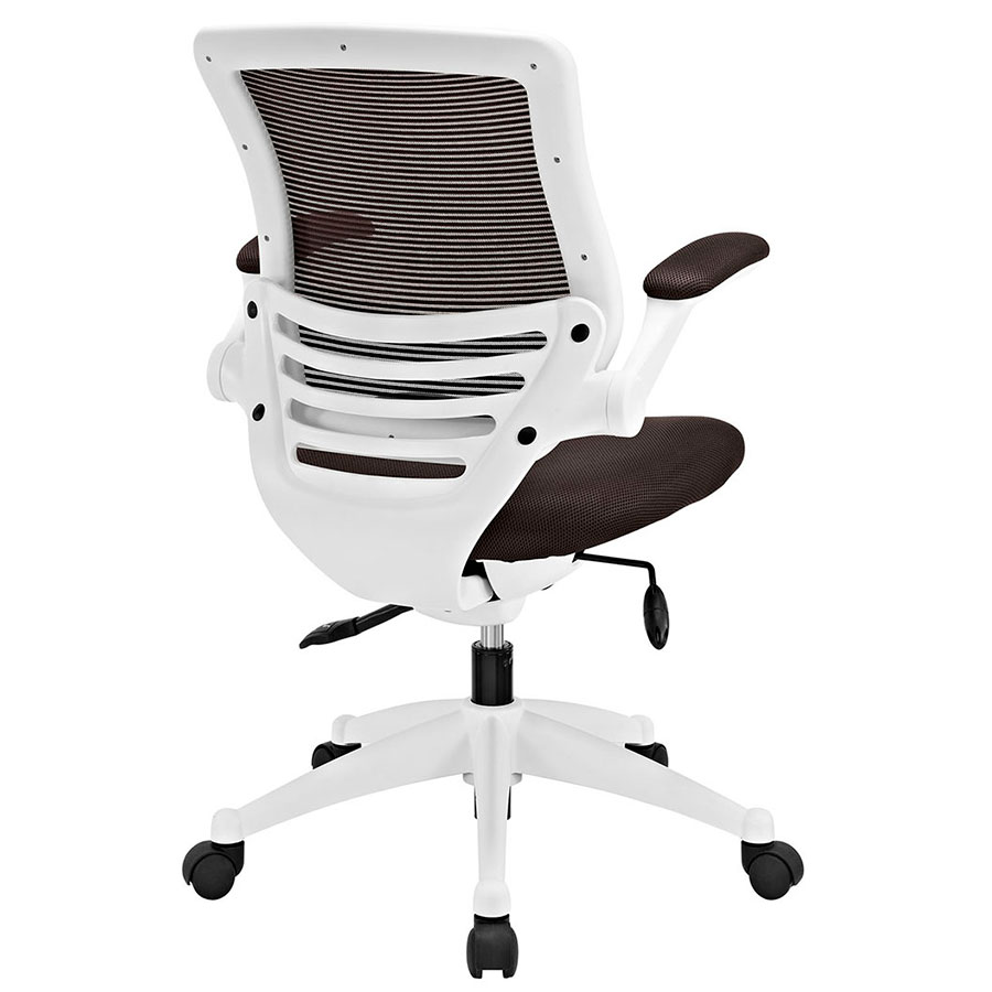 Ede Modern Fabric Office Chair in Brown + White - Back View