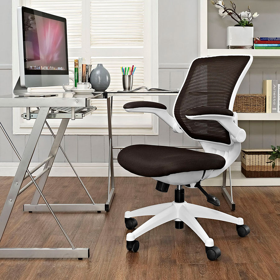 Ede Contemporary Fabric Office Chair in Brown + White