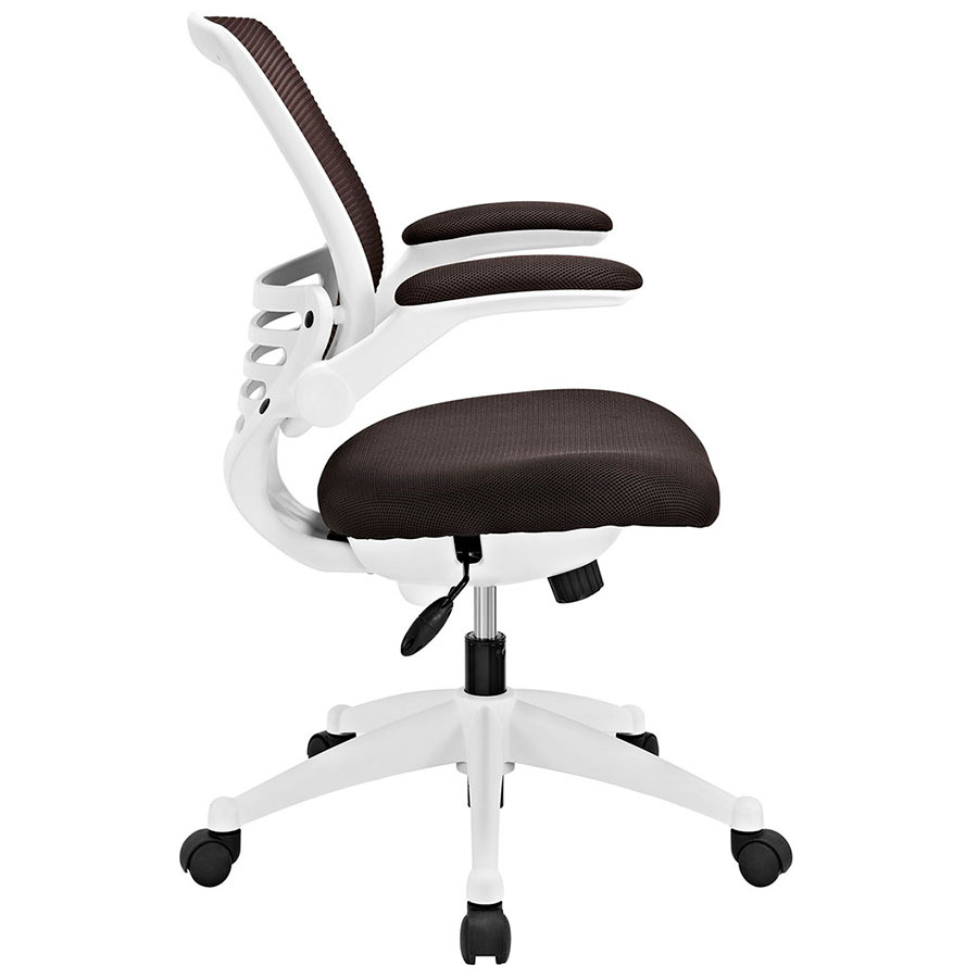 Ede Modern Fabric Office Chair in Brown + White - Side View