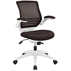 Ede Modern Fabric Office Chair in Brown and White