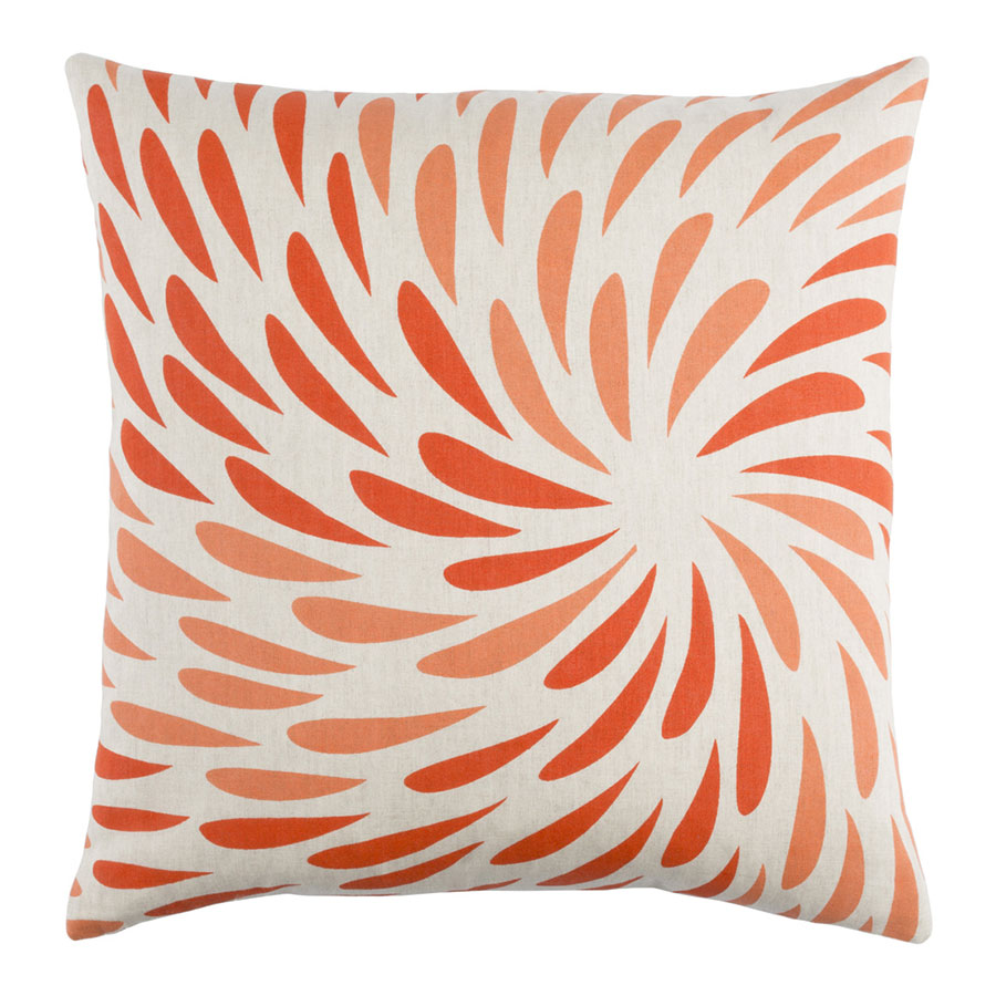 "Edith 18"" Orange Modern Pillow"