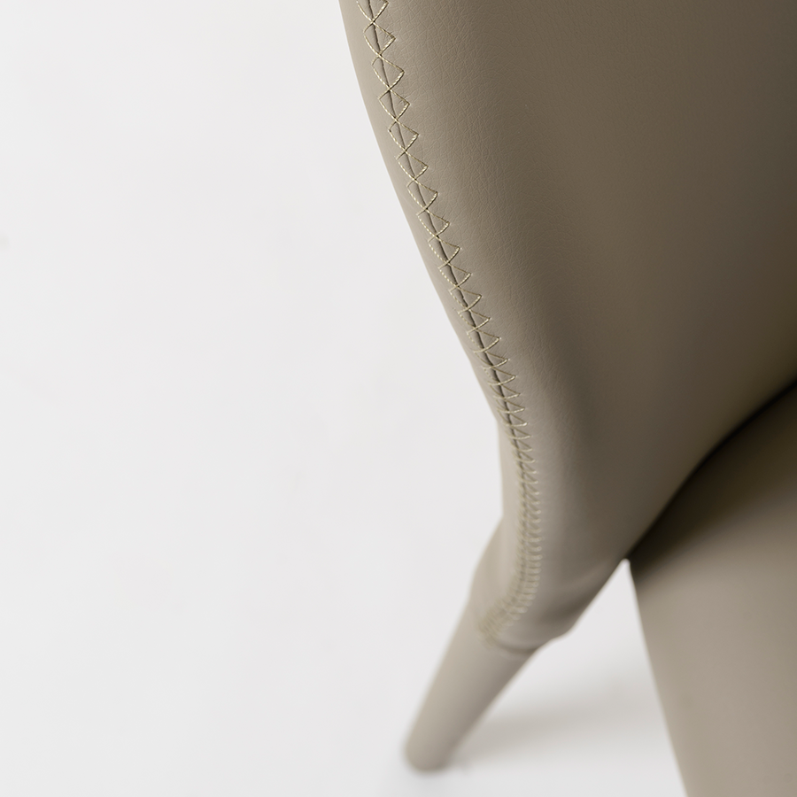 Elain Taupe Leatherette Modern Side Chair Detail