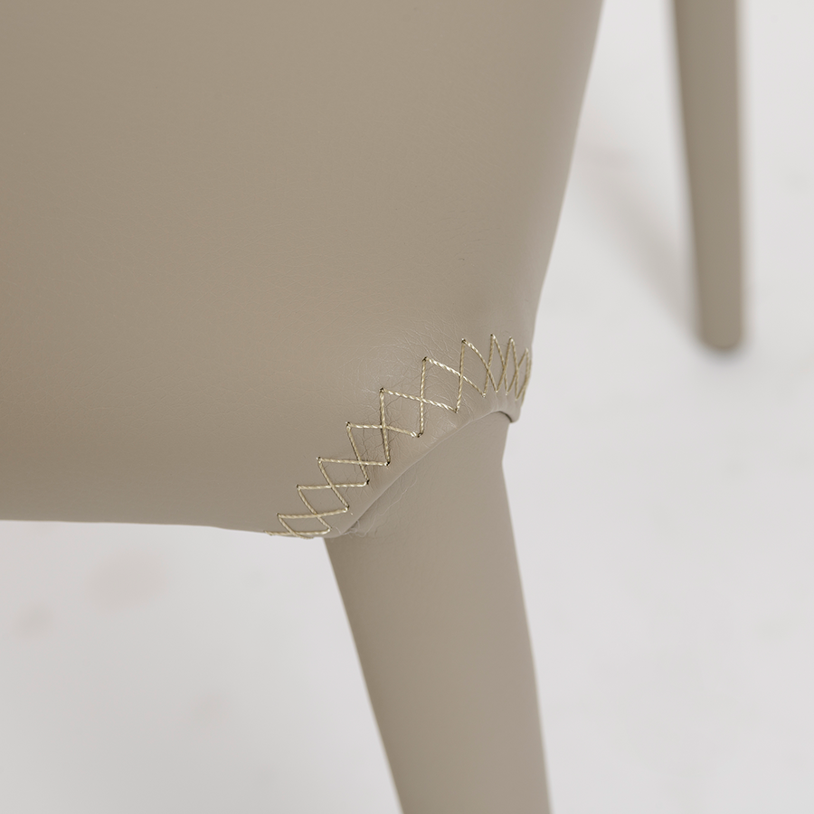Elain Taupe Leatherette Contemporary Side Chair Detail