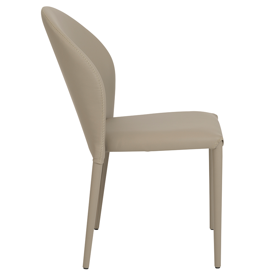 Elain Taupe Leatherette Modern Side Chair