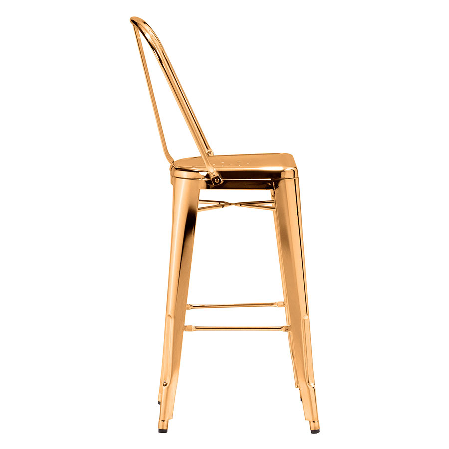 Elea Gold Contemporary Bar Stool Side