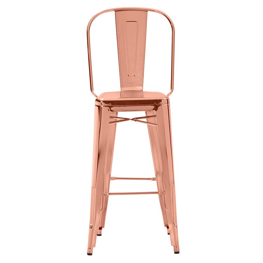 Elea Rose Gold Contemporary Bar Stool Front