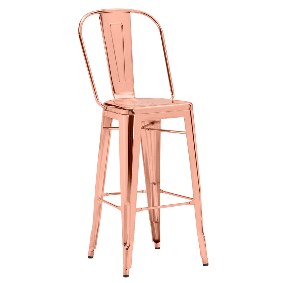 Elea Rose Gold Contemporary Bar Stool