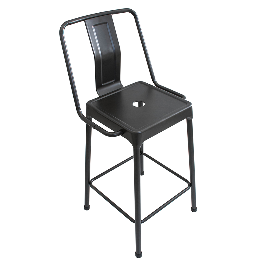 Elian Black Contemporary Bistro Style Counter Stool