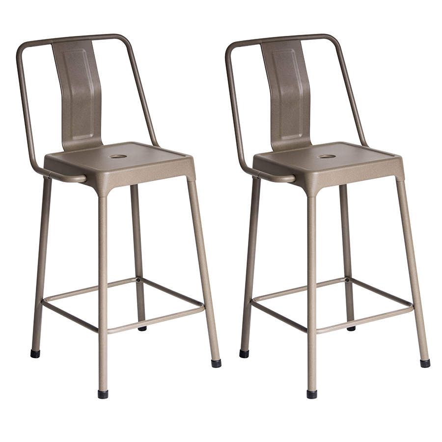 Elian Cappuccino Metal Bistro Style Modern Counter Stool
