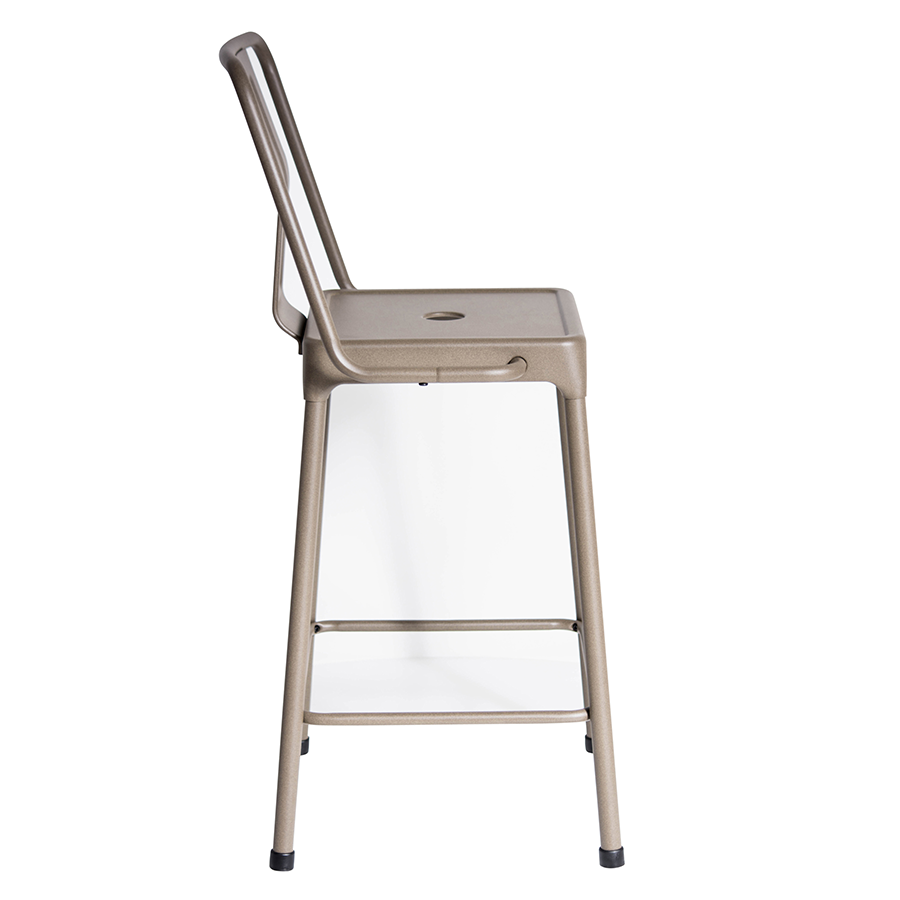 Elian Cappuccino Metal Modern Industrial Counter Stool