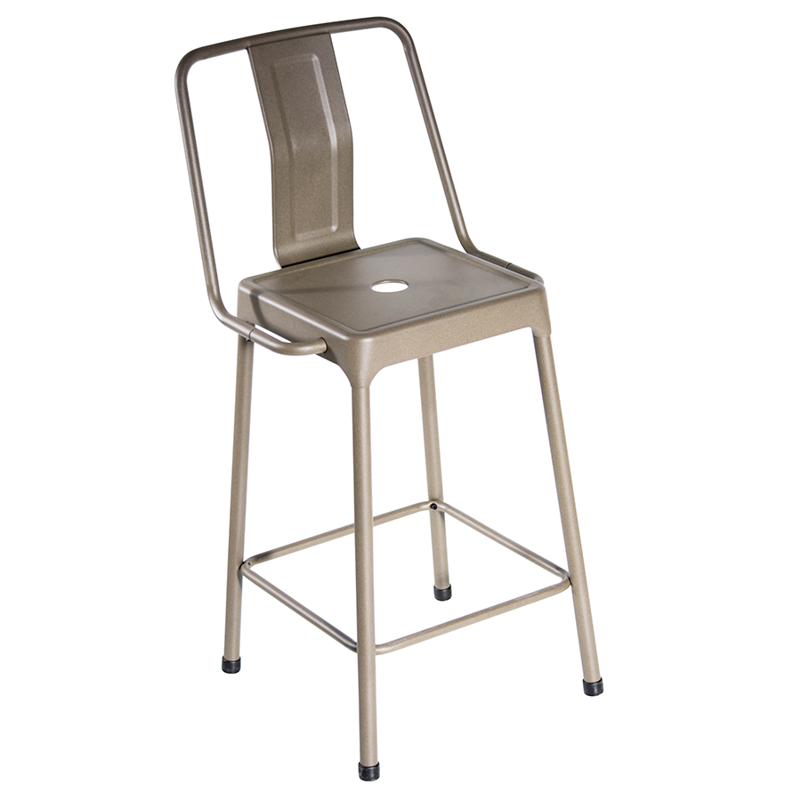 Elian Cappuccino Metal Bistro Style Contemporary Counter Stool