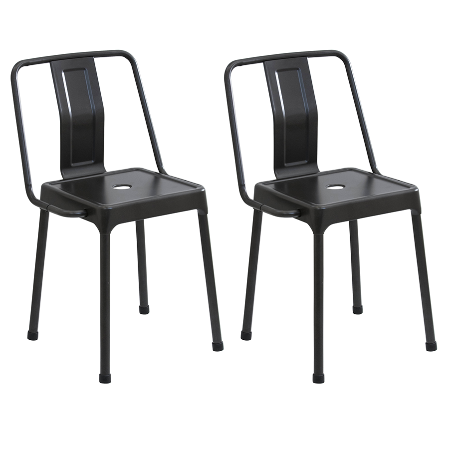 Elian Black Metal Contemporary Industrial Side Chair