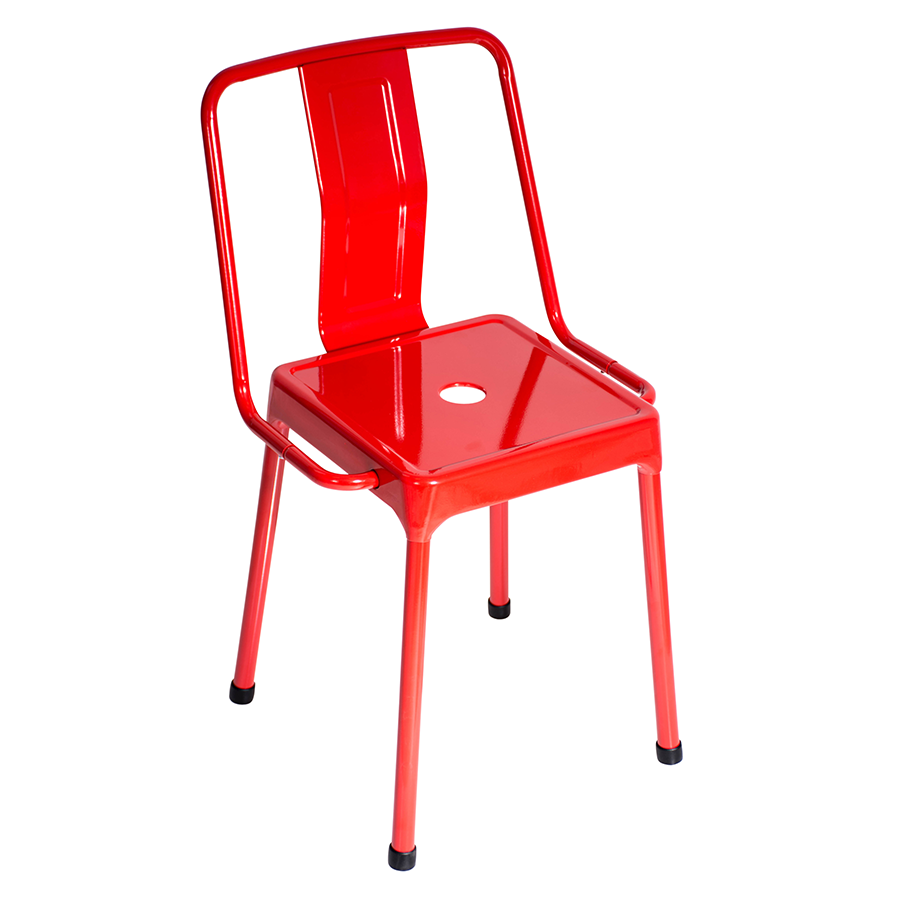 Elian Red Metal Cafe Style Modern Industrial Side Chair