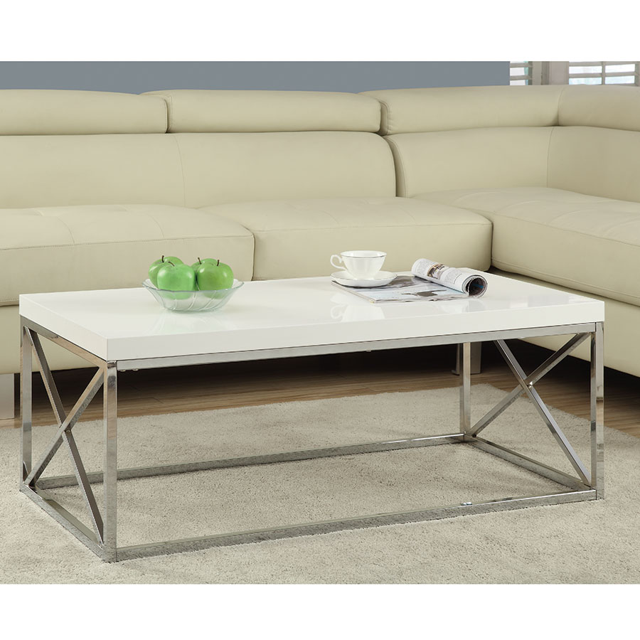 Ella Contemporary White & Chrome Coffee Table