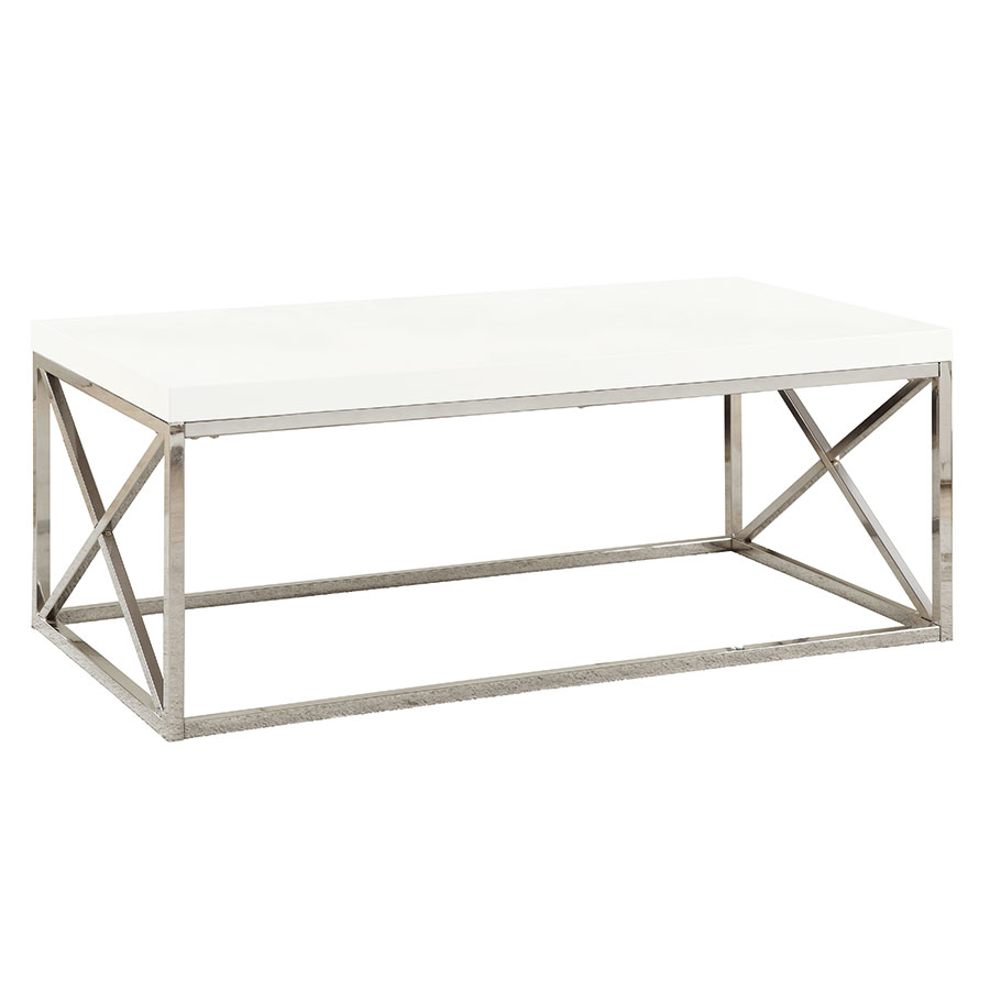 Ella Modern White & Chrome Coffee Table